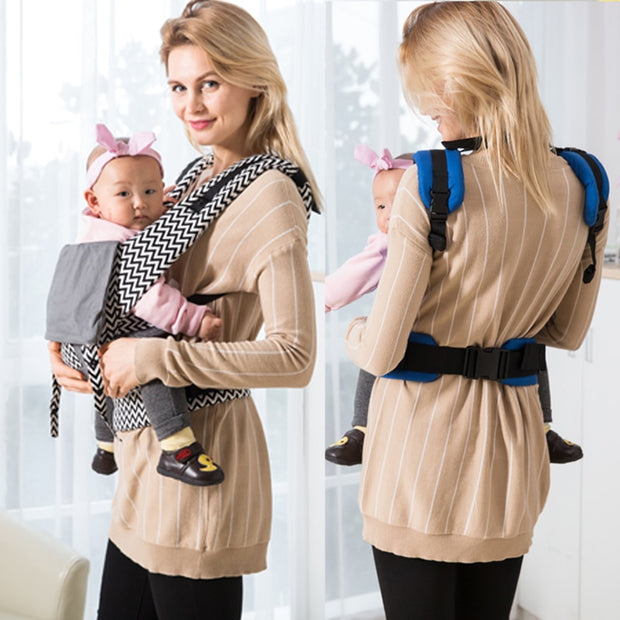 Gray  Cotton  Ergonomic Baby Carrier with Storage Pouch