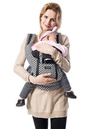 Black and White Cotton  Ergonomic Baby Carrier with Storage Pouch