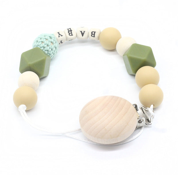Green Handmade Personalized Montessori Baby Pacifier Clip