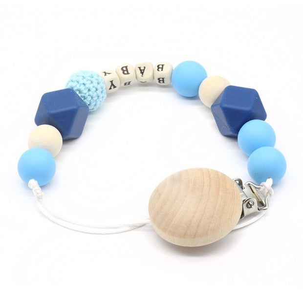 Blue Handmade Personalized Montessori Baby Pacifier Clip