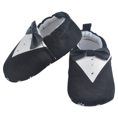Black Bow Tie Cotton Baby Moccasins