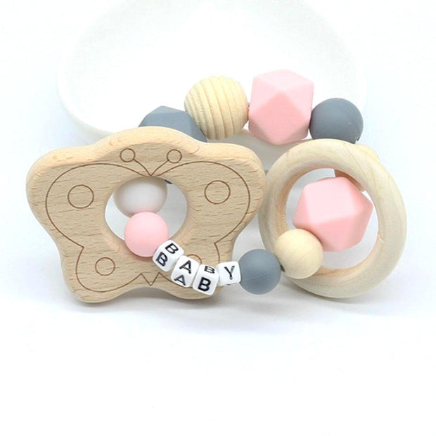 Personalized Name Baby Teething Bracelet With Butterfly Pendant