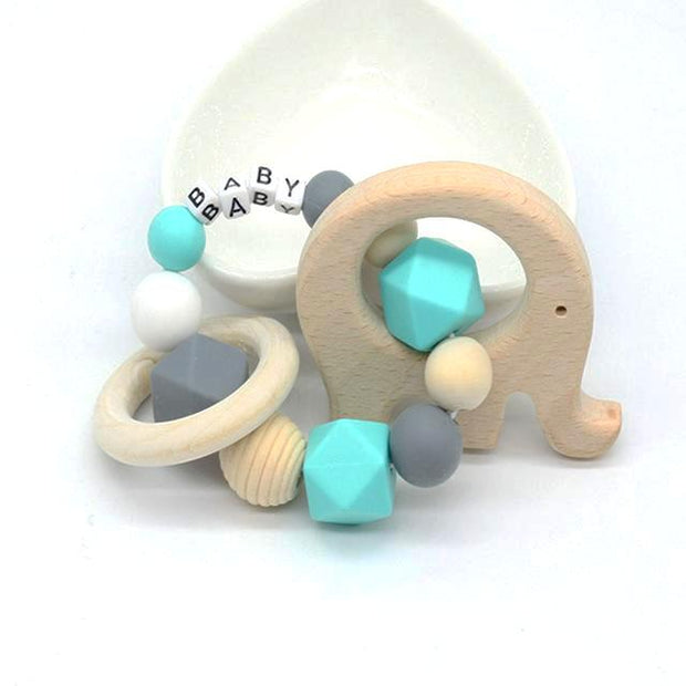Personalized Baby Teething Bracelet With Elephant Pendant