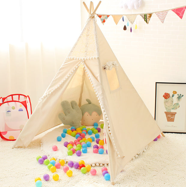 Crochet Cotton Canvas and Wood Teepee Play Tent