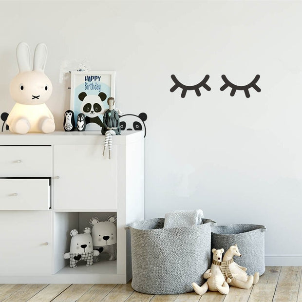 Non-toxic, Waterproof and Reusable Sleepy Eyes Nursery Peel and Stick Wall Decal