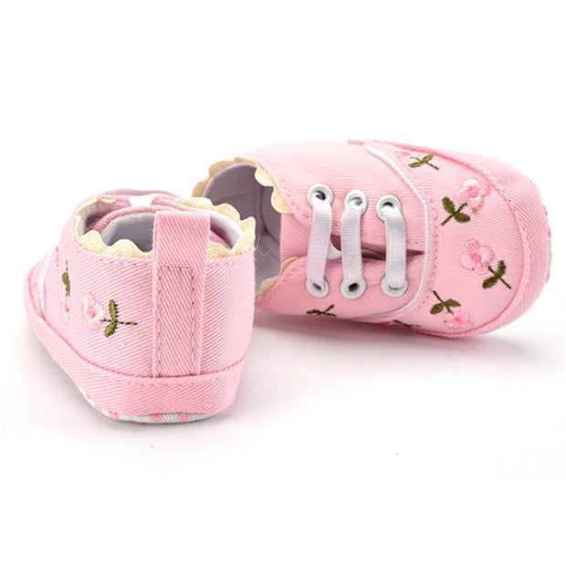 Pink Embroidered baby girl shoes