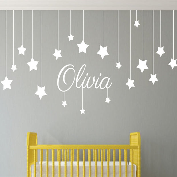 Non-toxic, Personalized, Customized and Waterproof Star Nursery Peel and Stick Wall Decal