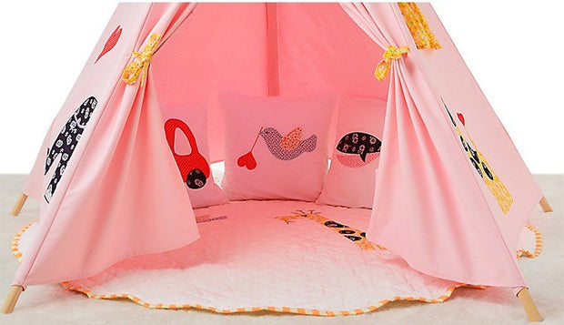 Elephant Cotton Canvas and Wood Teepee Play Tent