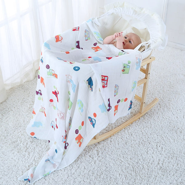 Cotton and Bamboo Baby Muslin Blankets, 2-Pack