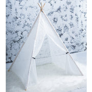 Lace Cotton Canvas and Pine Wood Teepee Play Tent