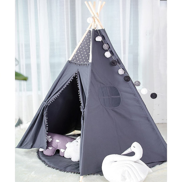 Charcoal Cotton Canvas and Pine Wood Teepee Play Tent