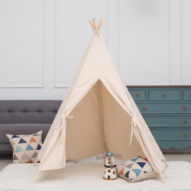 Beige Cotton Canvas and Pine Wood Teepee Play Tent