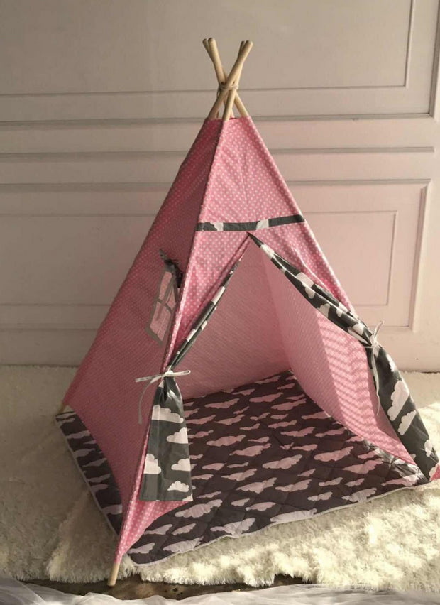 Clouds Cotton Canvas and Pine Wood Teepee Play Tent