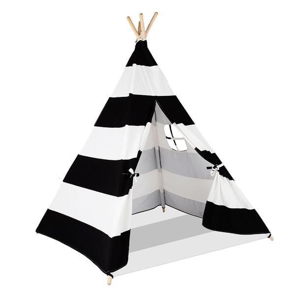 Striped Cotton Canvas and Pine Wood Teepee Play Tent with Floor Mat