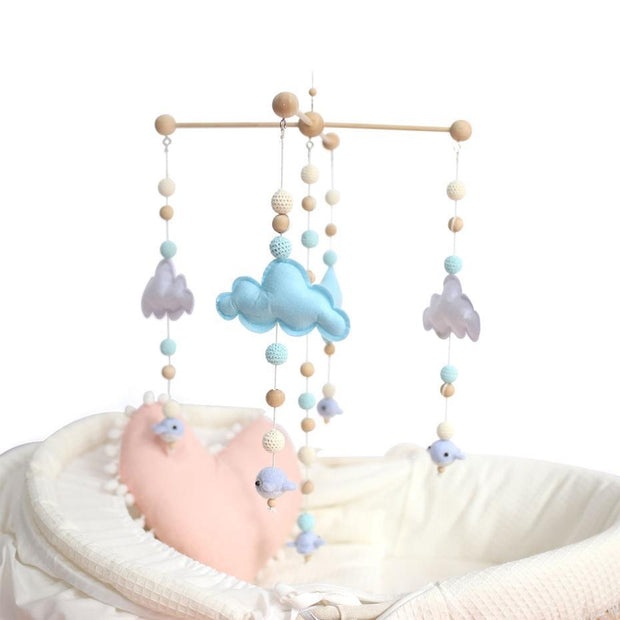 Handmade Wooden Cloud Baby Crib Mobile