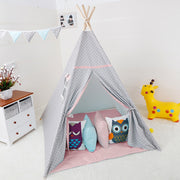 Stars Cotton Canvas and Pine Wood Teepee Play Tent