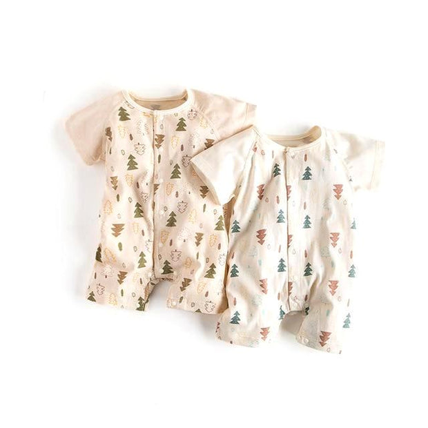 Organic Cotton Christmas Tree Short Sleeve Baby Romper