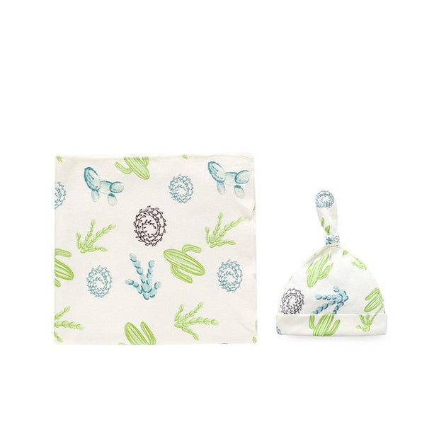 Organic Cotton Baby Hat and Matching Swaddling Wrap, 2-Piece Set