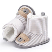 White Cozy Cotton and Plush Baby Booties