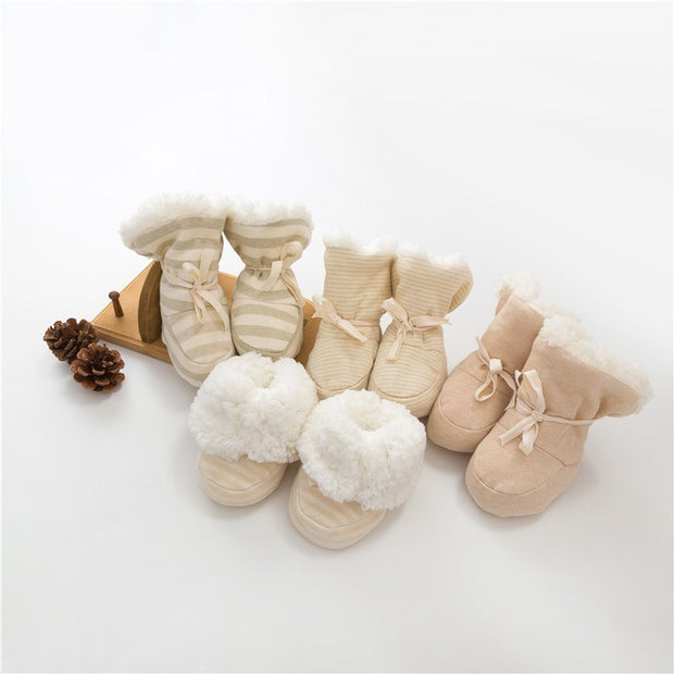 Organic Cotton Sherpa Baby Booties
