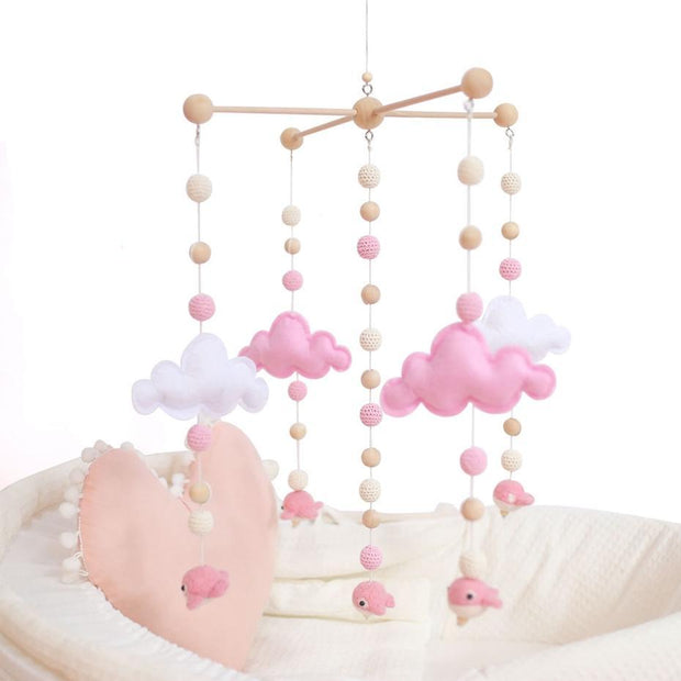 Pink Handmade Wooden Cloud Baby Crib Mobile