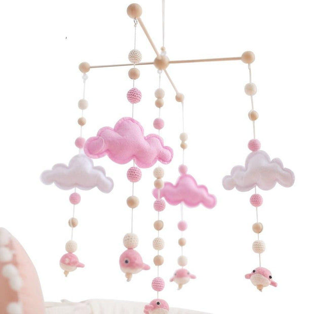Handmade Wooden Cloud Baby Crib Mobile for baby girl