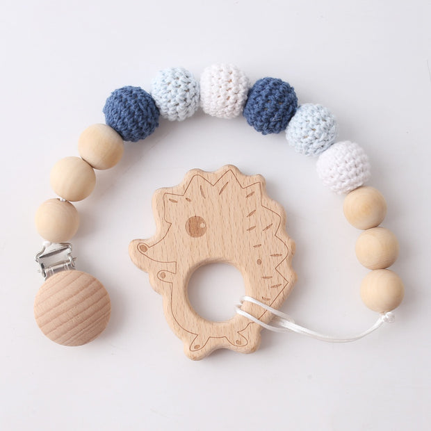 Wood and Crochet Handmade Baby Pacifier Clip with Pedant
