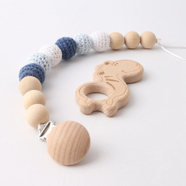 Wood and Crochet Handmade Baby Pacifier Clip with Zebra Pedant