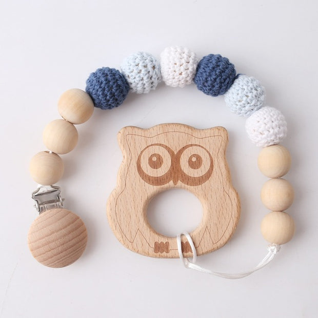 Wood and Crochet Handmade Baby Pacifier Clip with Owl Pedant