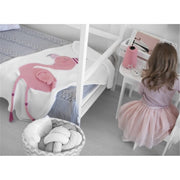 3D Baby flamingo Knitted Stroller Blanket organic cotton