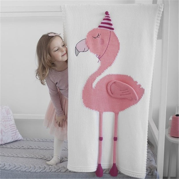 3D Baby flamingo Knitted Stroller Blanket organic cotton white