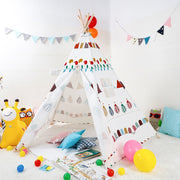 Multicolor Cotton Canvas and Pine Wood Teepee Play Tent