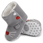 Non-Slip Sherpa and Cotton Knitted Baby Mouse Booties