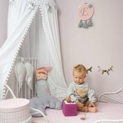 Cotton Baby Bed Canopy with Pompoms
