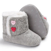 Unisex Knitted Baby Booties with Heart Shaped Buttons