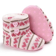 Newborn Cozy Wool and Cotton Knitted Baby Booties with Heart Shaped Buttons
