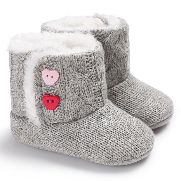 Knitted Baby Booties with Heart Shaped Buttons