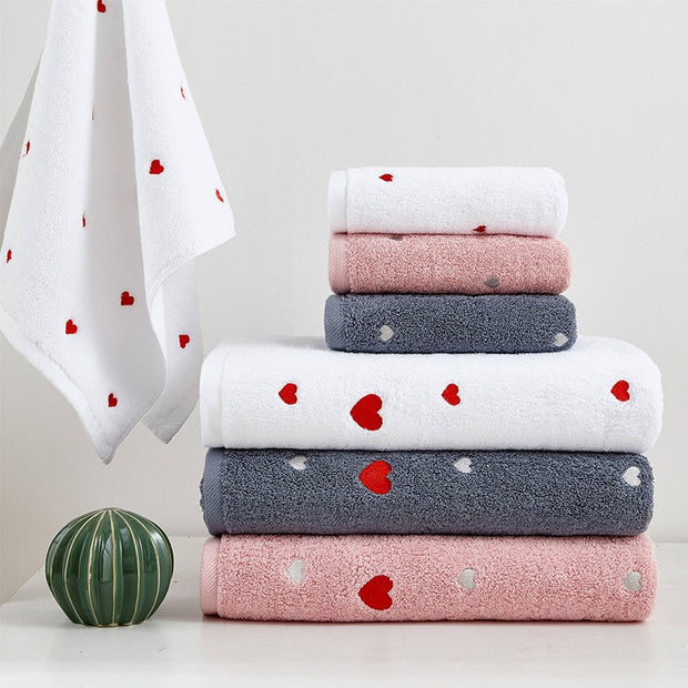 Organic Cotton Hearts Towels, 2-Piece Set