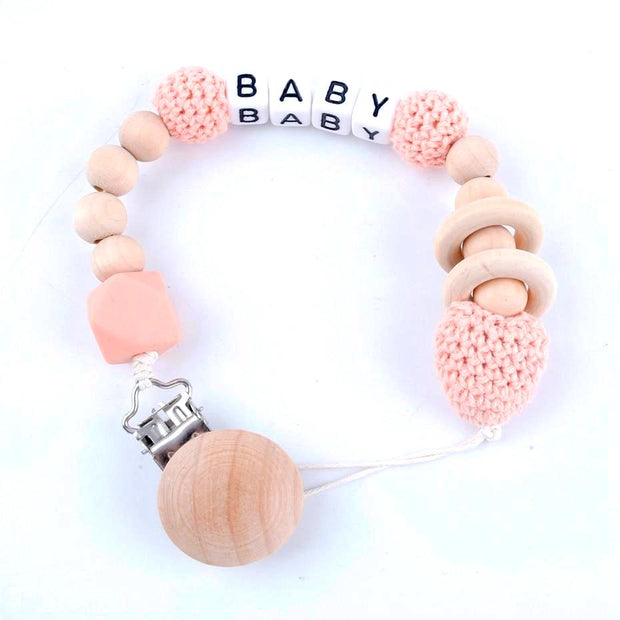 Handmade Customized Name Baby Pacifier Clip