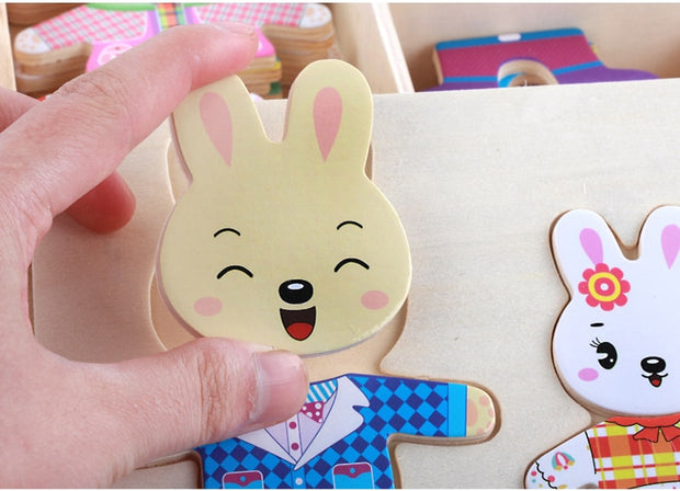 Bunny Family 3D Jigsaw Puzzle with Storage Box