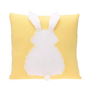 Knitted Toddler Throw Pillow with 3D Bunny organic cotton minimalist yellow