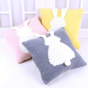 Knitted Toddler Throw Pillow with 3D Bunny organic cotton montesorri nursery