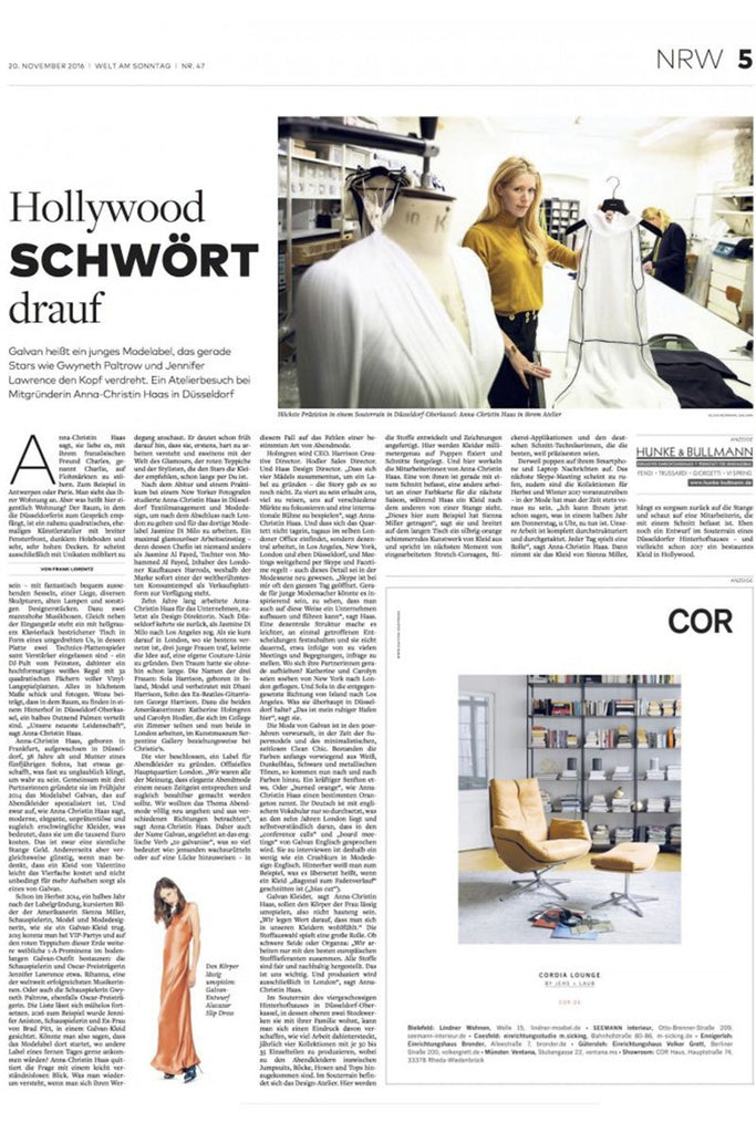 Galvan feature and interview with Anna Haas in Welt am Sonntag