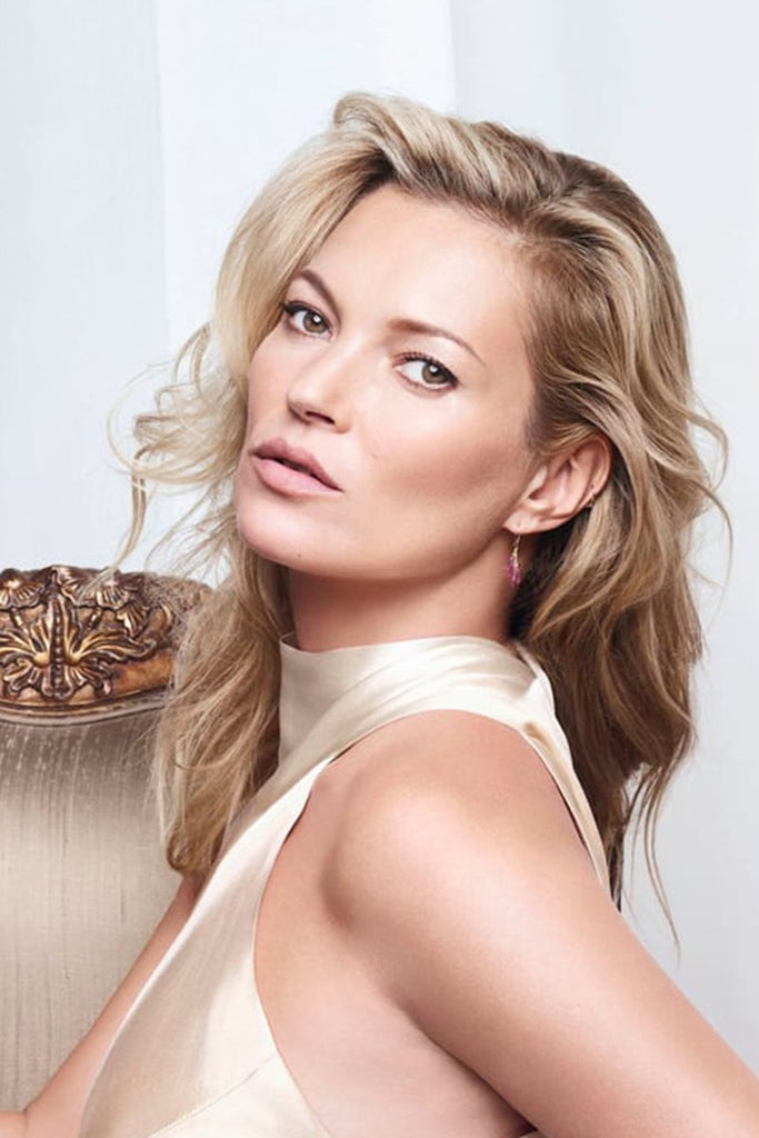 Model Kate Moss wears Galvan