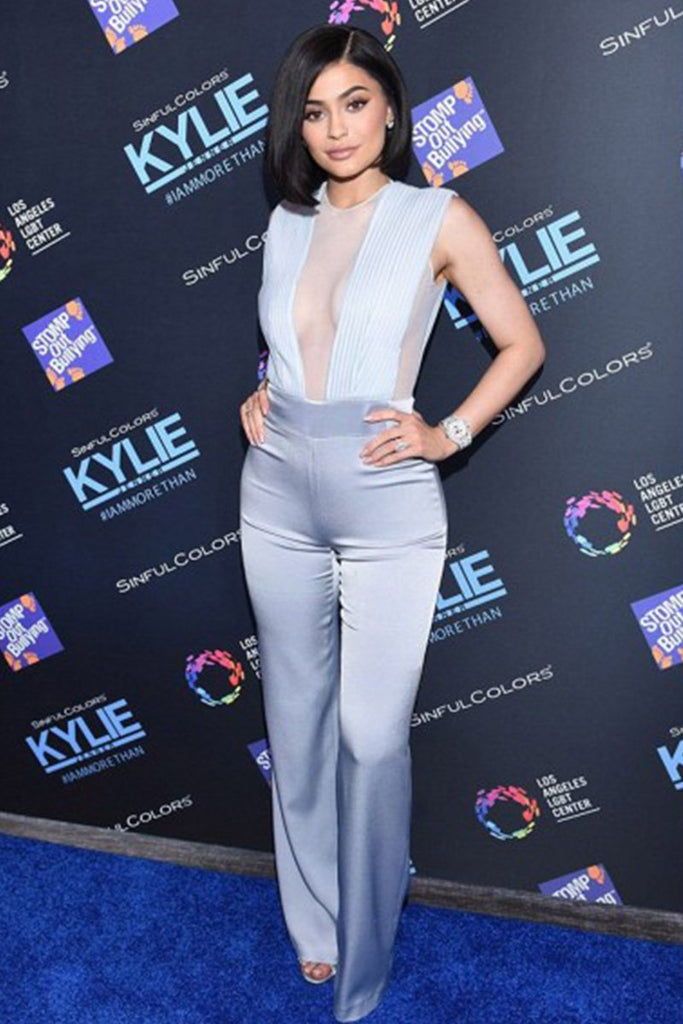 Kylie Jenner wears a classic Galvan Tulle Plunge jumpsuit in LA