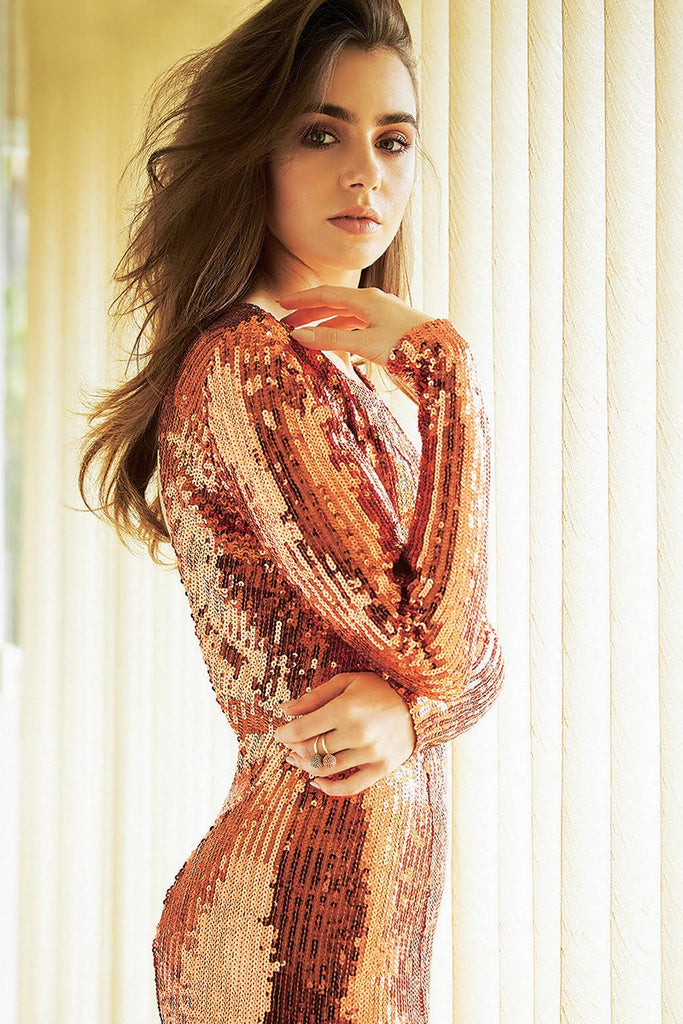 Lily Collins wears Galvan for Stella magazine