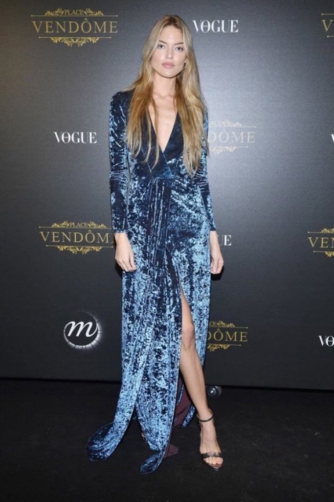 Martha Hunt wears Galvan to the Irving Penn exhibition hosted by Vogue Paris for PFW