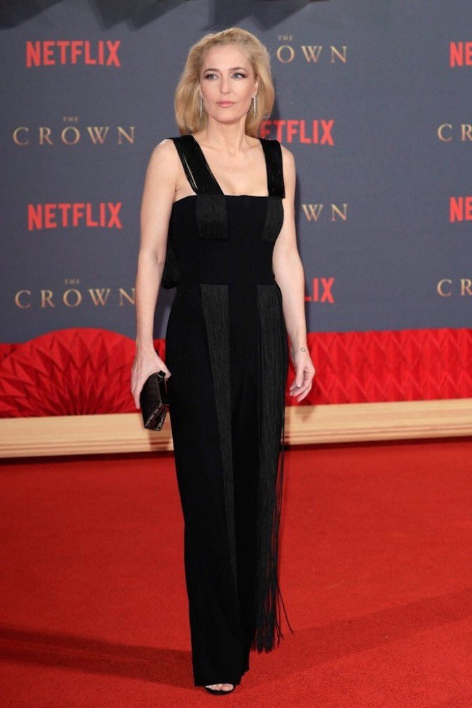Gillian Anderson wears Galvan to the world premiere of 'The Crown'