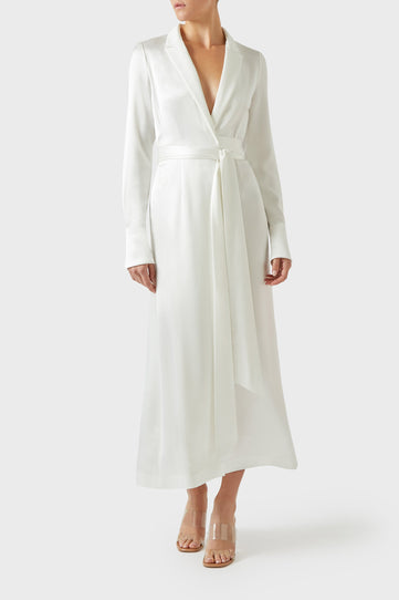 Callisto Wrap Coat Dress - White