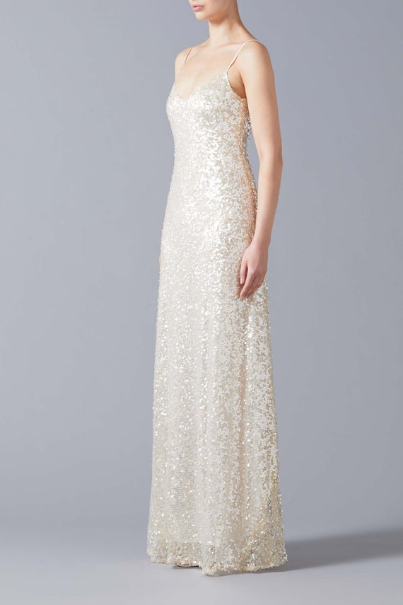 Estrella Spaghetti Strap Bridal Dress - Pearl White